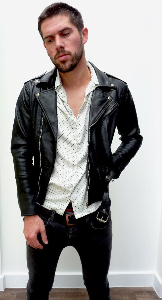 Cuir noir veste biker veste slim fit par BLACKoVANILLA sur Etsy
