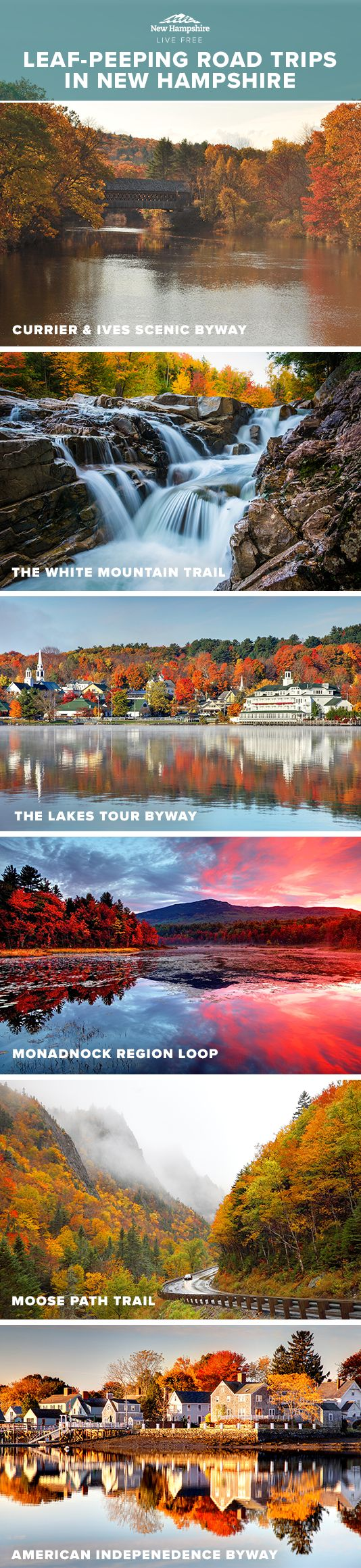 The best way to see the beauty that is New Hampshire fall foliage is to get in the car and take an unforgettable road trip. These scenic drives will take you across the state, where you can stop and enjoy stunning mountain views, apple picking, outdoor activities like biking, kayaking and hiking, artisanal goodies, world-class restaurants, great locally brewed beer, tax free shopping and much more.