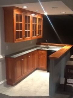 Small basement bar design pictures remodel decor and for Basement kitchen ideas on a budget