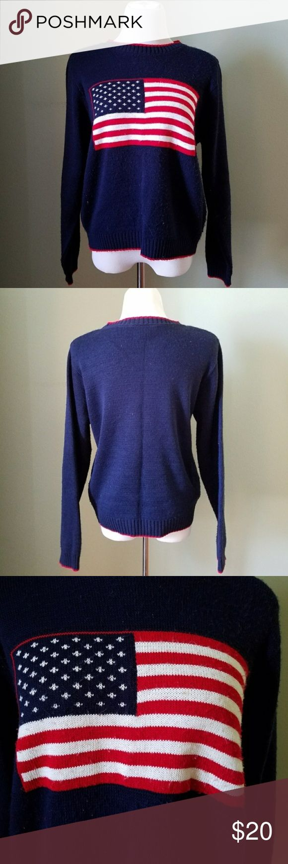 Vintage American Flag Sweater Good vintage condition. Minor flaws may include slight pulling or slight pulls. Stain pictured Mannequin is size 6 for reference  Hanes brand  Acrylic  BUNDLE your likes and shoot me and OFFER! Hundreds of items available for discounted bundle offers! Vintage Sweaters