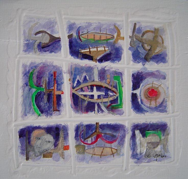 Título: Juego Interactivo  Autor: Alvaro Galindo Vácha  Dimensiones: 24 x 24 cm  Técnica: Acrílico sobre madera  Año: 2004  Firmado: Frente