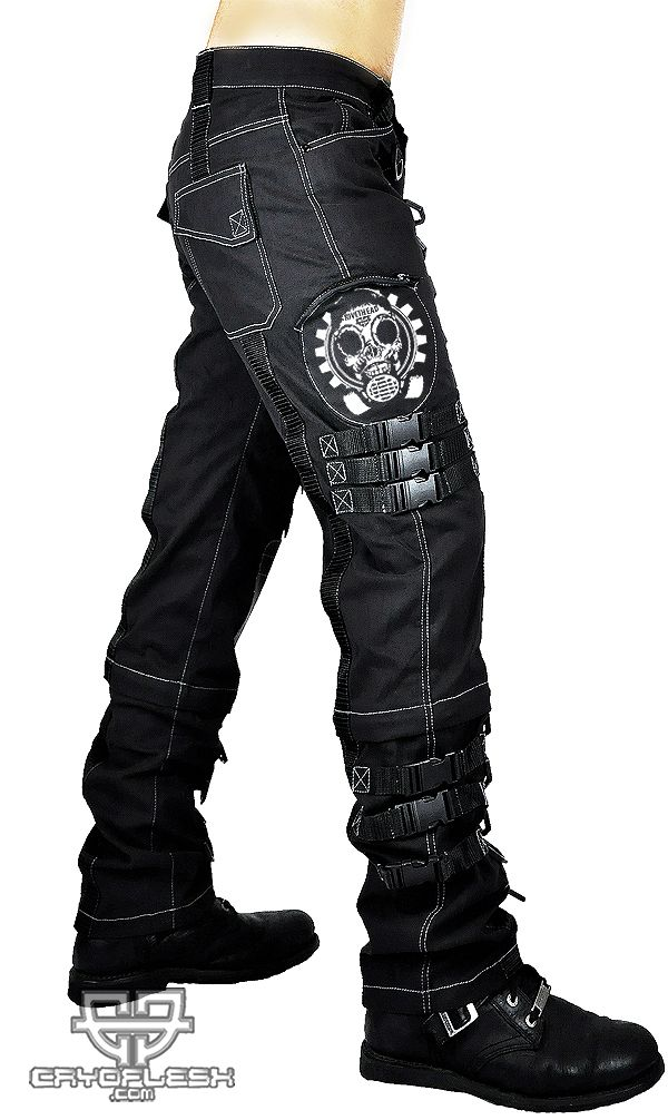 "Rivethead Fallout Pants  Faded Black Pants with Light Grey Stitch, Rivethead Symbol with Black Straps and Hardware. NOTE: These are custom made and NOT returnable! Waist Measurements: Small: 30.5"" Medium: 32"" Large: 34.5"" XLarge: 36.5"" XXLarge: 38.5"" XXXLarge: 40"""