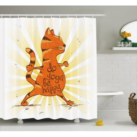 Yoga Shower Curtain Funny Cat Doing Warrior Position Motivational Quote Healthy Life Humor Fabric