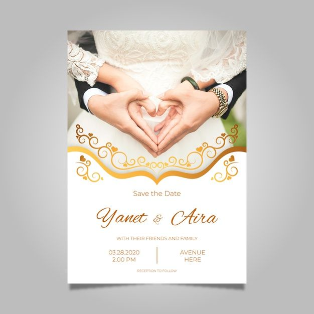 Wedding Invitation Template With Pic Fre Premium Vector Freepik Vector Weddi Wedding Invitation Templates Wedding Invitations Wedding Anniversary Cards