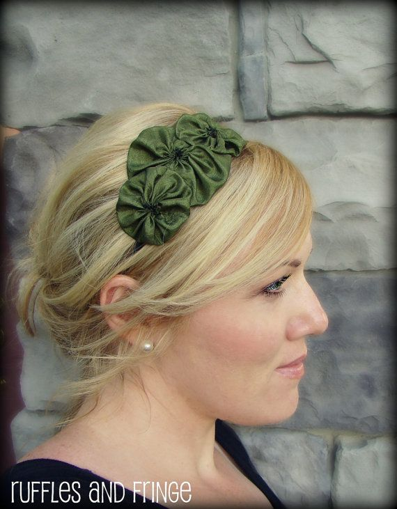 Bmaids? MOH MOH: you can wear whatevs you want! Olive Green Handmade Flower Hair Band  Rosette by RufflesAndFringe, $12.00