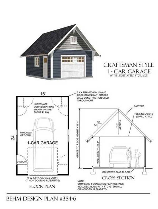 1 Car Craftsman Style Garage Plan With Attic 384 6 16 X 24 By Behm Design Garage Plan Garage Style Garage Plans