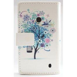 Lumia 520 sininen puu lompakkokotelo.