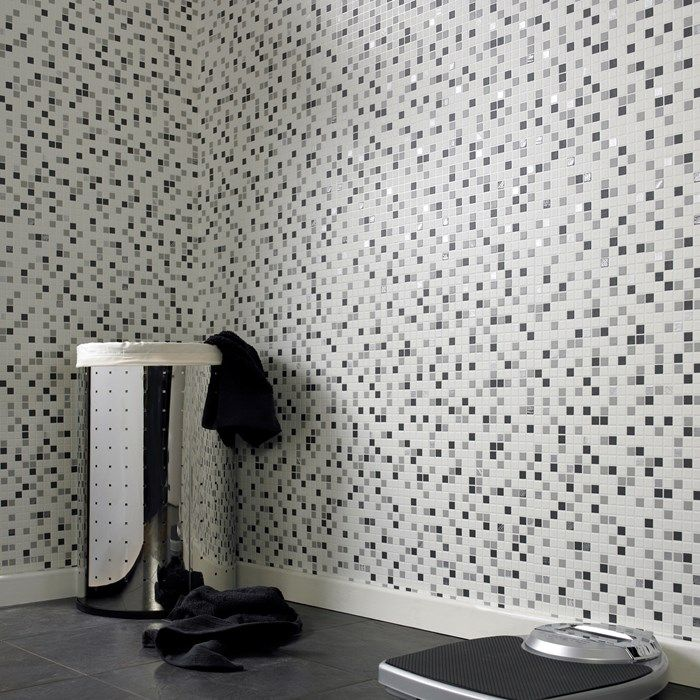 Checker Black White Tile Wallpaper Mosaic Wall Coverings By Graham Brown Bathroom Ideas Pinterest And