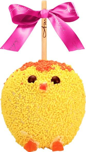 Yellow Chick Caramel Apple w/ White Belgian Chocolate - http://www.amysgourmetapples.com/gifts-by-season/easter-spring-gifts/yellow-chick-caramel-apple-w-white-belgian-chocolate.html