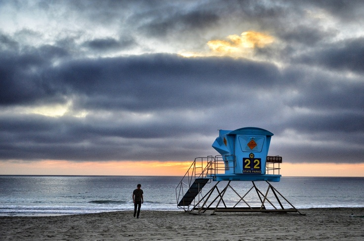 Lifeguard Tower and Solitary Man at Sunset in Carlsbad