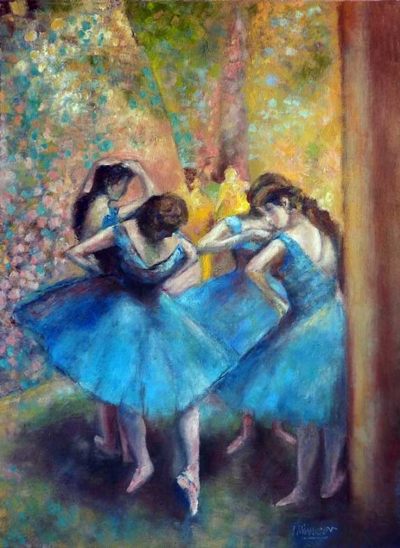 """Blue Dancers"" by artist Edgar Degas"