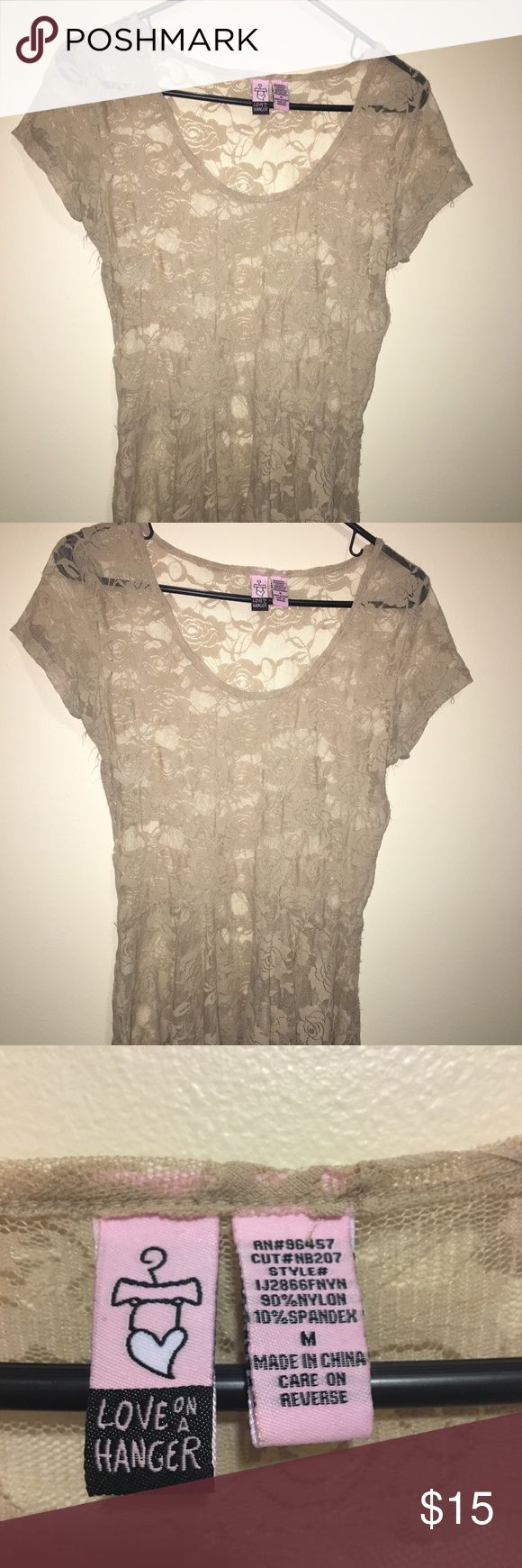 Love on a Hanger Peplum Cream Lace Top M Pre-Owned Love on a Hanger Peplum Cream Lace Top M in good condition. Can be worn as a beach cover up or wear with a tank top under.  Comes From Smoke Free Home Love On A Hanger Tops Tees - Short Sleeve