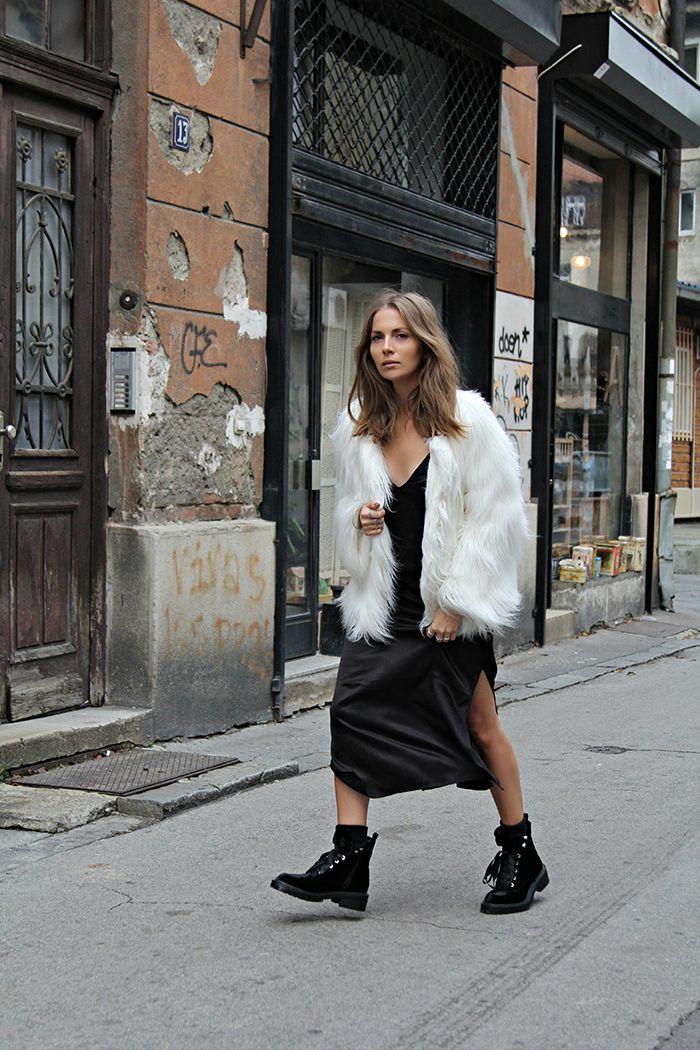 White fur coat // black work boots