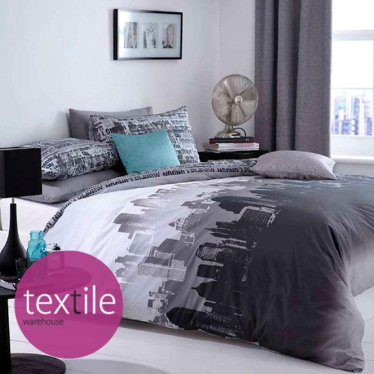 City scape black grey urban text reversible modern duvet quilt cover bedding set quilt cover for Cityscape bedroom furniture collection