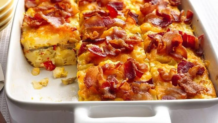 Brunch? Mix up breakfast favorites of bacon and hash browns in a make-ahead egg bake.