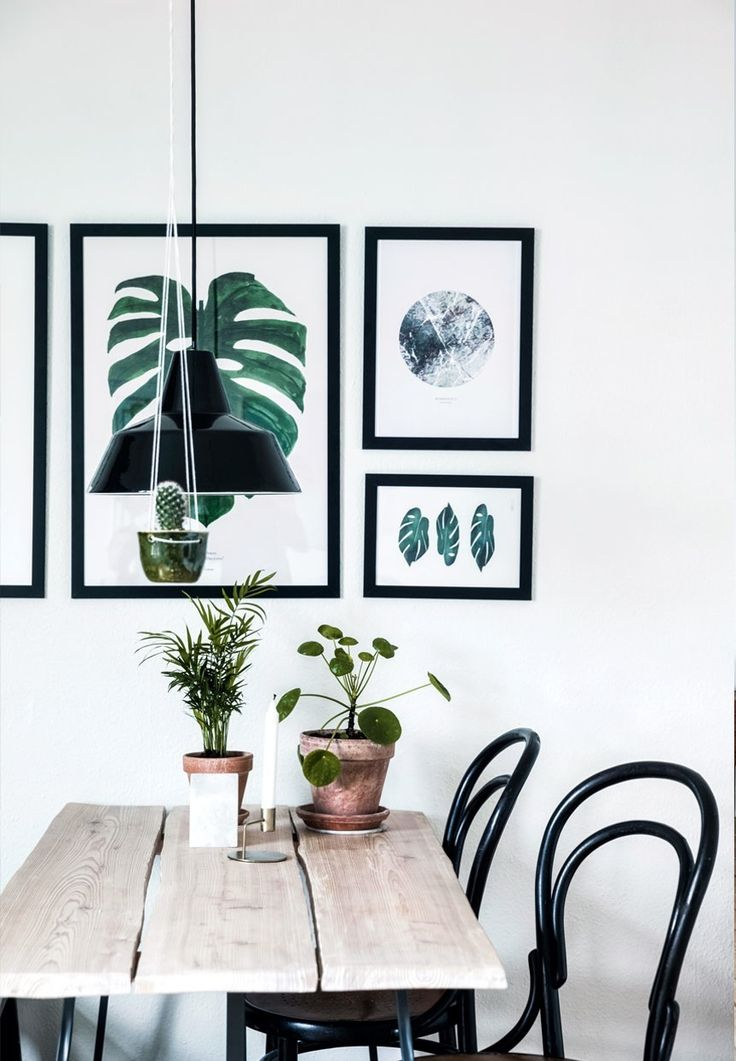 Gallery wall in the dining room with botanical art.