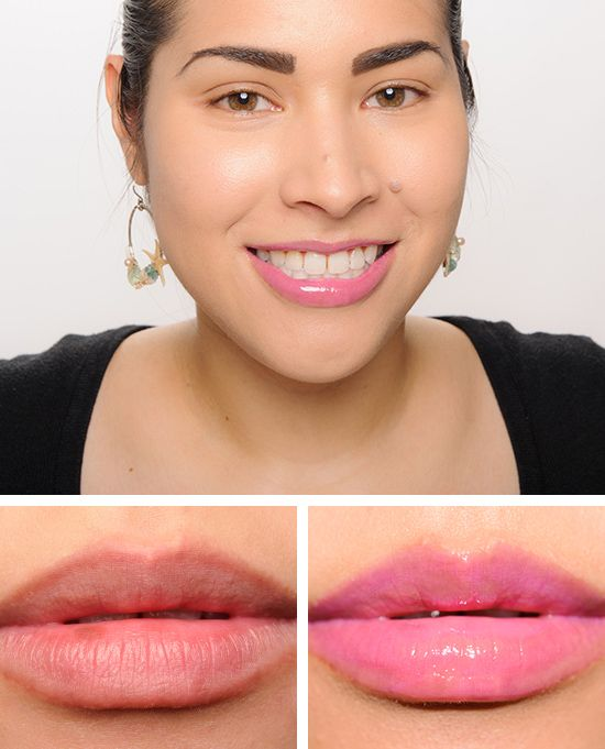 """NYX Strawberry Parfait Butter Gloss ($5.00 for 0.27 fl. oz.) is described as a """"fuchsia."""" It's a medium, cool-toned pink with a cream finish. It had semi-s"""