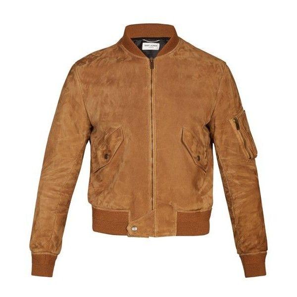 Saint Laurent Suede bomber jacket ($3,990) ❤ liked on Polyvore featuring men's fashion, men's clothing, men's outerwear, men's jackets, brown, mens suede jacket, mens brown leather bomber jacket, mens brown jacket, mens suede leather jacket and men's stand collar jacket