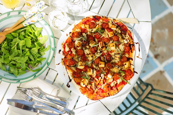 Rosemary Roasted Feta, Tomato and Chicken Pizza