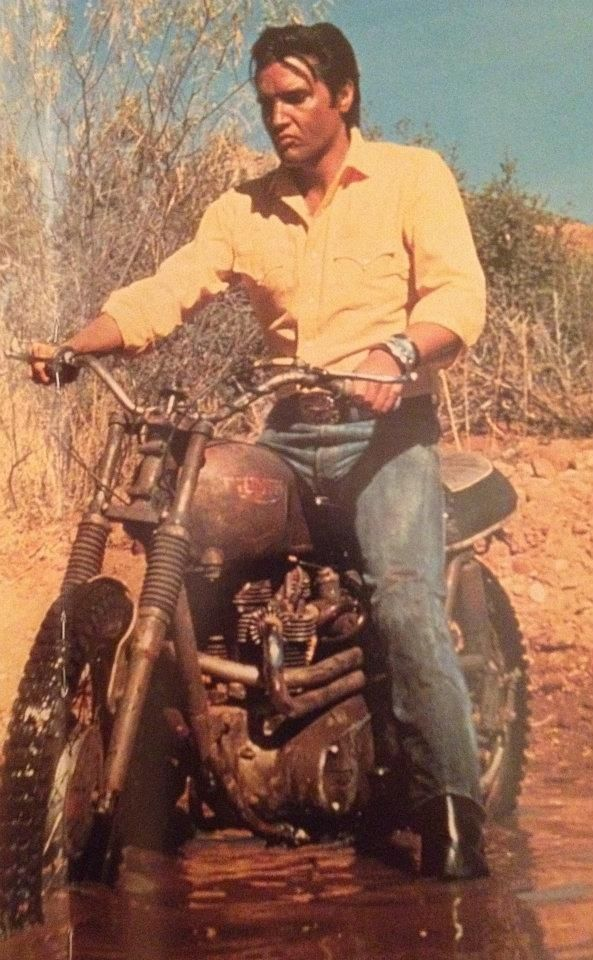 "Elvis Presley riding a Triumph Bonneville Motorcycle in ""Stay Away Joe"" Movie Card. 1968"