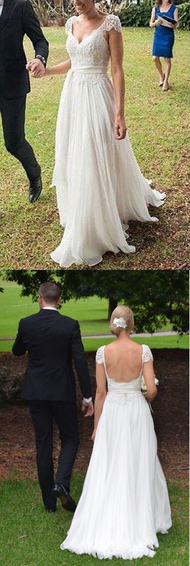 Chic New Arrival Wedding Dress,Romantic V-neck Wedding Dress 2017,A-line Cap Sleeves Wedding Gowns,Lace Ivory Chiffon Beach Wedding Dress,Wedding Dresses