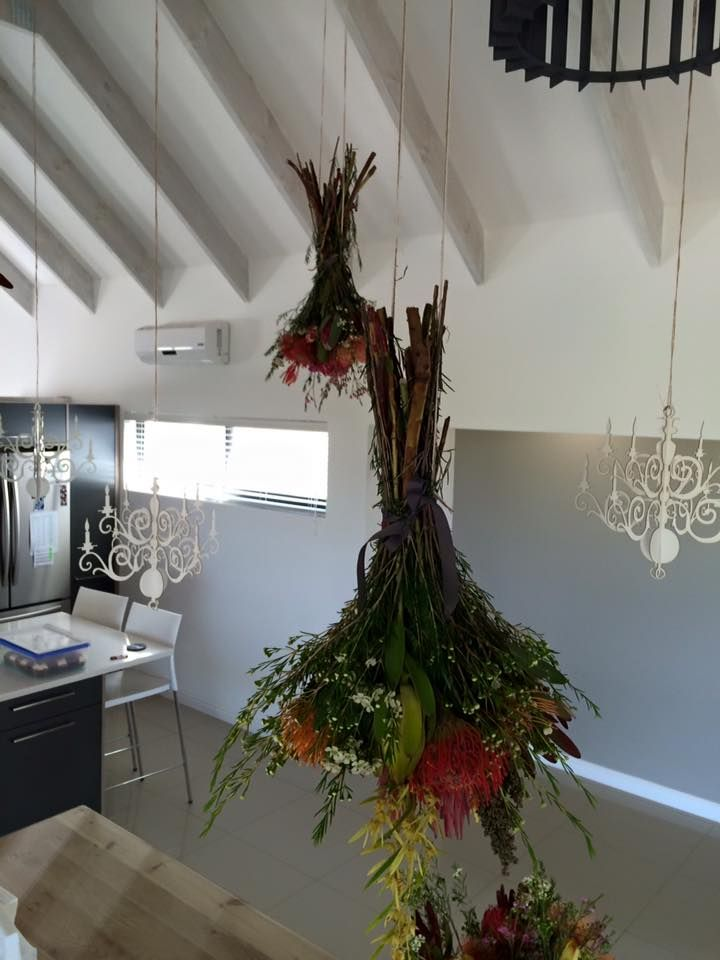 Laser Cut Chandeliers and Hanging Proteas