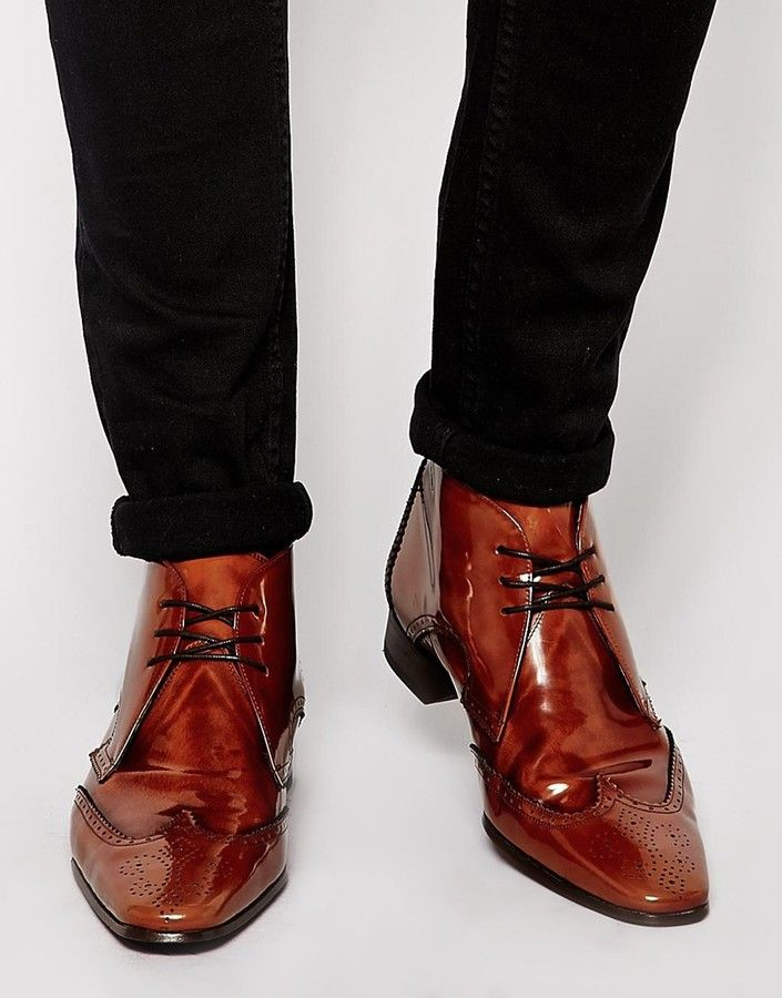 $272, Brown Leather Brogue Boots: Jeffery West Brogue Short Boots. Sold by Asos. Click for more info: https://lookastic.com/men/shop_items/151008/redirect