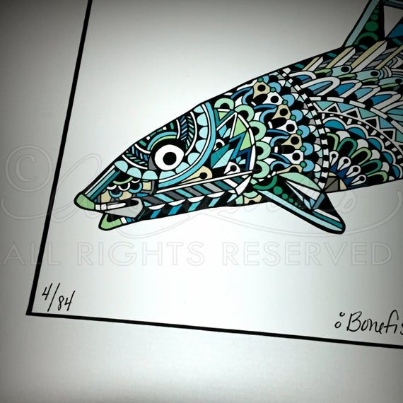 Limited Edition Bonefish Zentangle Art Giclee Print 8 5 X11 Conservation Matted To 11 X14 How To Draw Hands Fine Art Prints Limited Edition Prints