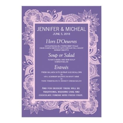 Violet and Blush Pink Floral Wedding Menu Card - wedding invitations cards custom invitation card design marriage party