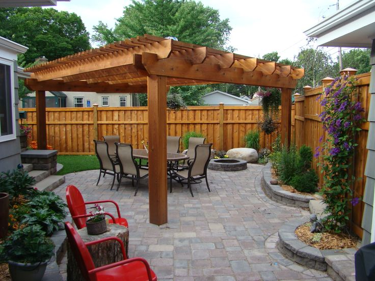 Gorgeous use of outdoor space by grand prize winner Reid Ramsaas of Minnesota. Outdoor living includes warm Western Red Cedar pergola, fire pit, foilage and plenty of seating to entertain.