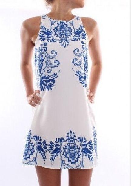 Blue Porcelain Floral Print Sleeveless Shift Dress