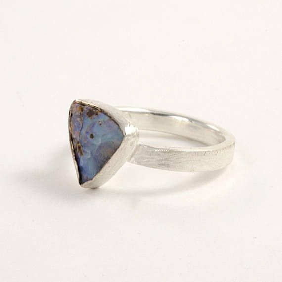 Raw Opal ring sterling silver rough gemstone ring Boho chic