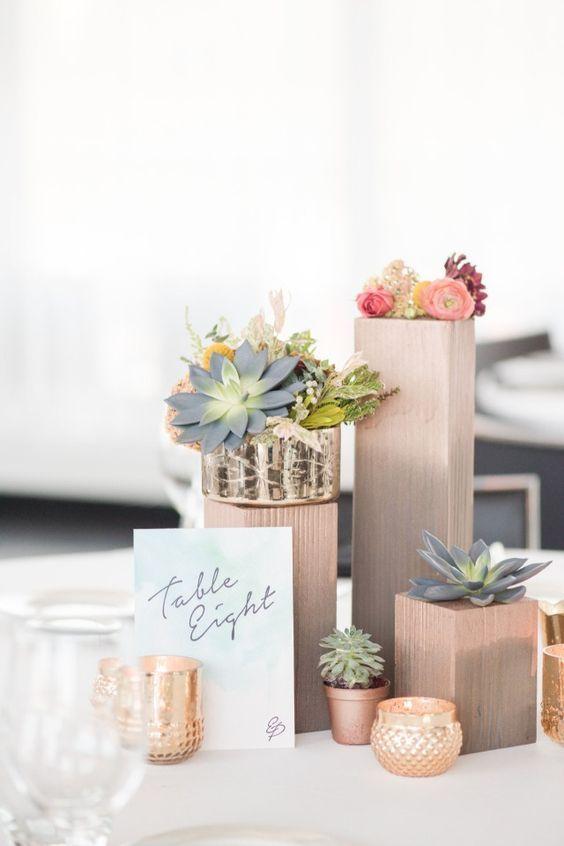 modern table number with gold and rose gold centerpiece / http://www.deerpearlflowers.com/rustic-wedding-details-and-ideas/