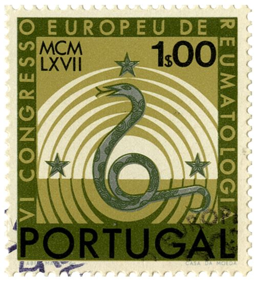Beautiful commemorative stamp from the IV European Congress of Rheumatology. Designed by Abel Manta in 1967. via Hue & Saturation