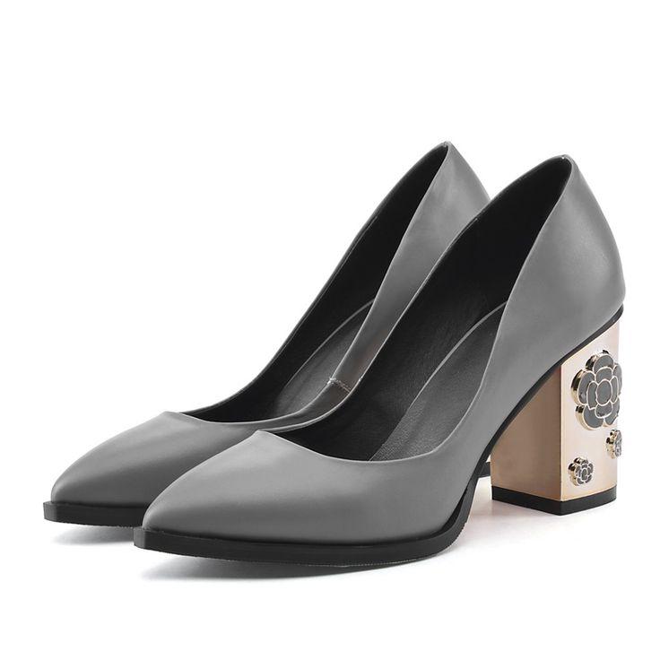 2016 новая мода genuien кожаные ботинки женщин насосы весна осень сексуальные толстые высокие каблуки острым носом платье обувь насосы 34-39