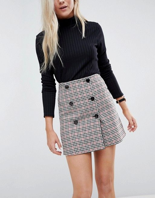 23ac39368 double Breasted mini skirt in check with buttons   Bottoms   Mini ...
