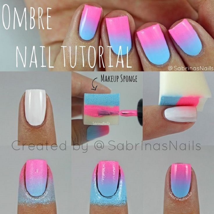 Nail Art- Degradê rosa e azul