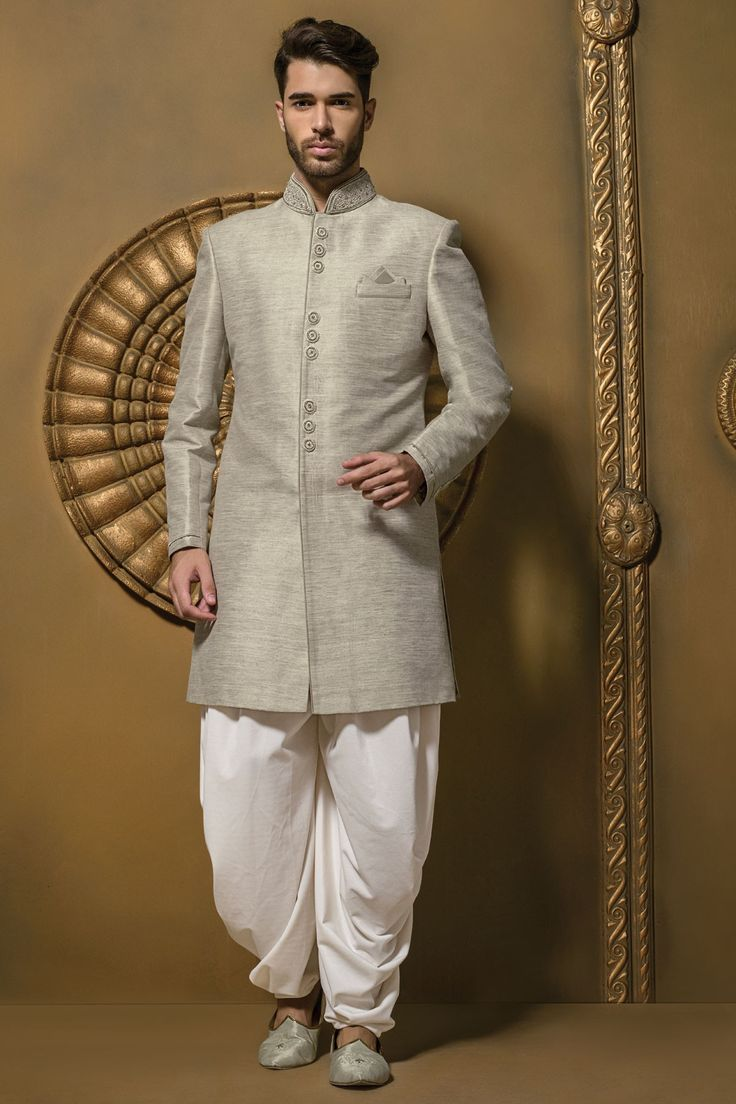 Metallic light grey admirable jute silk jodhpuri sherwani with full sleeves & dhoti pants -IW345