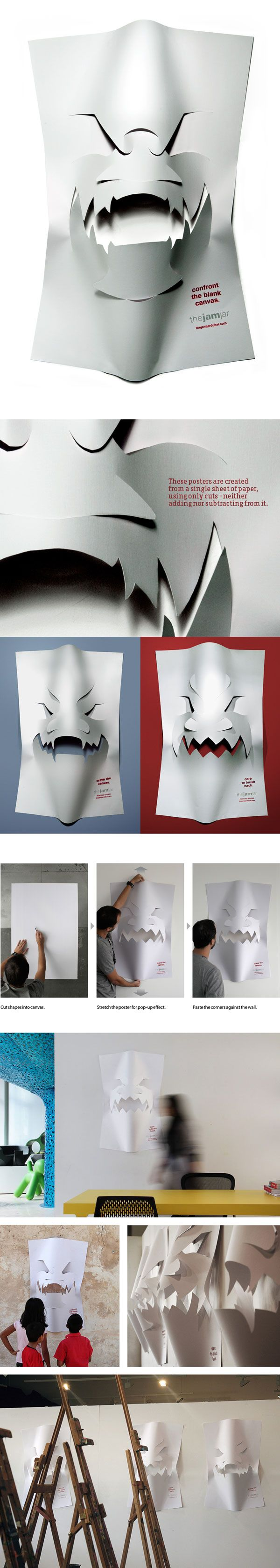Blank Canvas posters by Leo Rosa Borges, via BehanceMonster Party, Canvas Posters, Blank Canvas, Paper Art, Leo Rosa, 3D Posters, Rosa Borges, Design Posters, Art Assignments