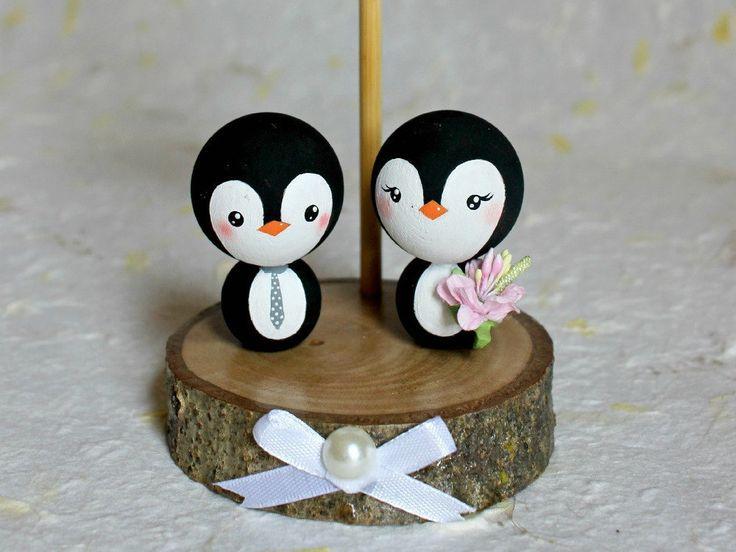Penguins Wedding Cake Topper, Penguin Winter Wedding, Personalized Wedding Cake Topper, Customized Wedding Cake, Penguin bride and groom by ArtwenShop on Etsy