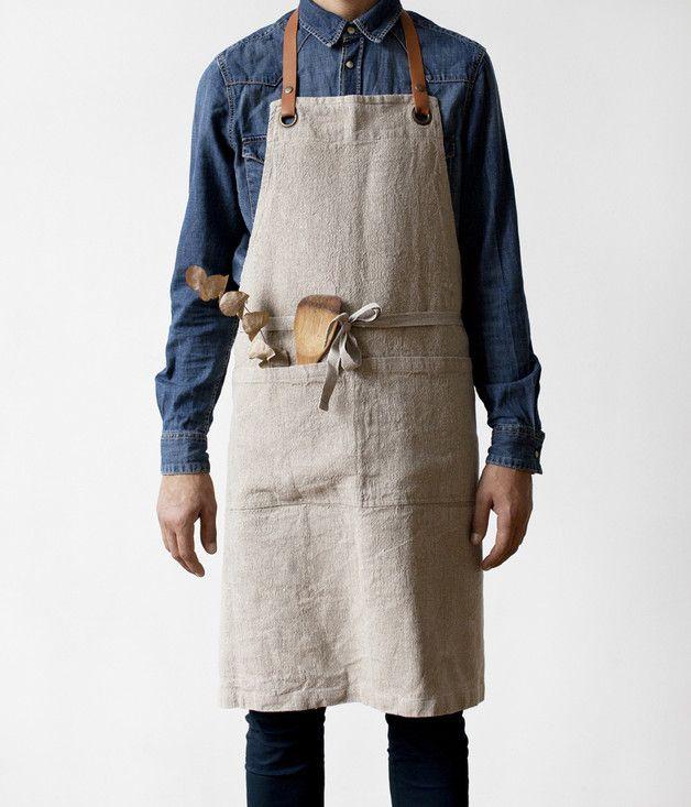 Natural Luxury Linen Apron With Adjustable Leather Neck - a unique product by LinenTales. Via en.DaWanda.com.