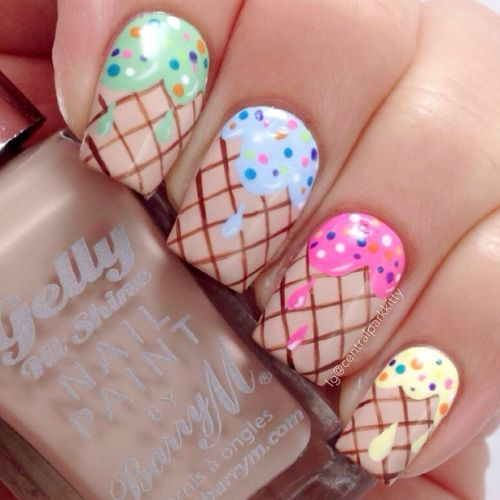 ice cream cone nail art                                                       …