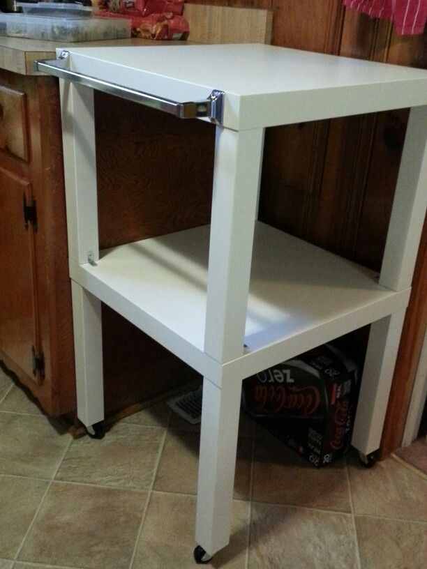 $30 IKEA Lack Hack Kitchen Cart. Add Wheels, A Towel Bar, And L