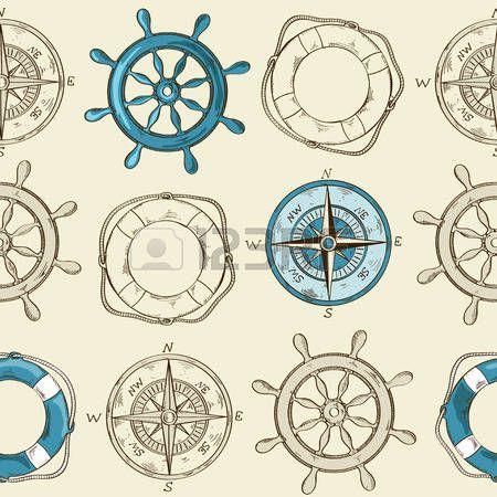 Náutico padrão sem emenda listrado de roda, bússola e bóia salva-vidas photo