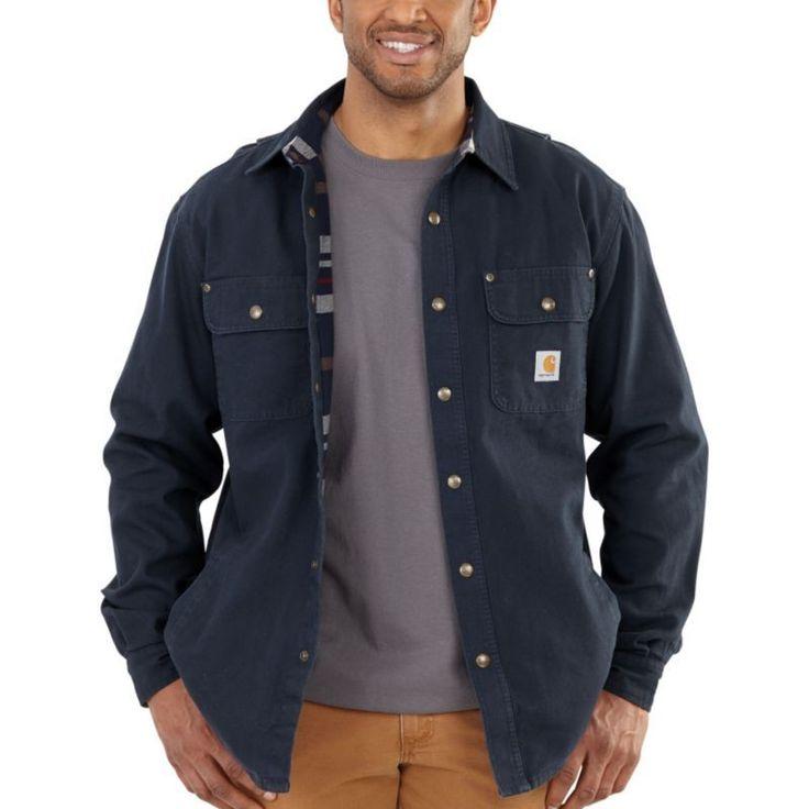 Carhartt Men's Weathered Canvas Shirt Jacket, Size: Medium, Blue