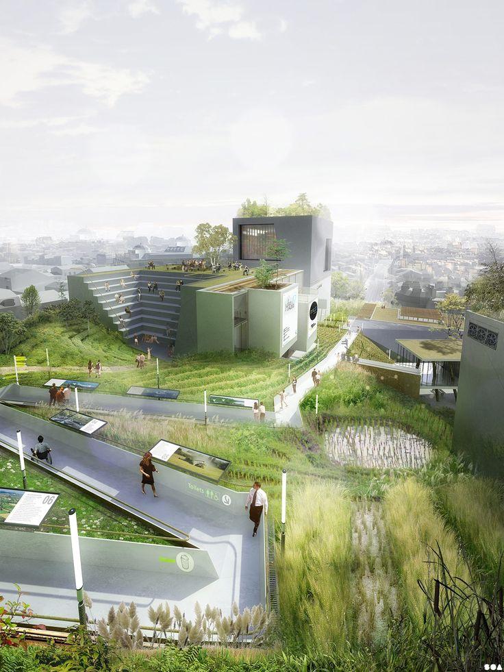 Ferme Montparnasse, recherches prospectives en agriculture urbaine. Projet de terrain agricole recouvrant le Centre commercial Montparnasse, Paris XIV