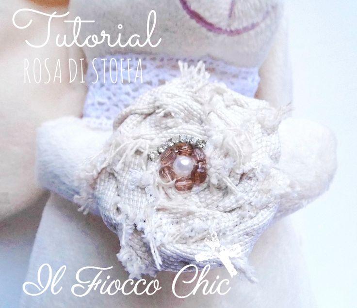 Tutorial rosa di stoffa by Nina #tutorialcucito #ilfioccochic #rosastoffa #cucitocreativo