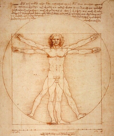 Vitruvian Man Read here about the drawing byLeonardo Da Vinci based onVitruvius's ideas of human-centered measurement and proportion. The concept expresses our human scale and its relationship to other scales.