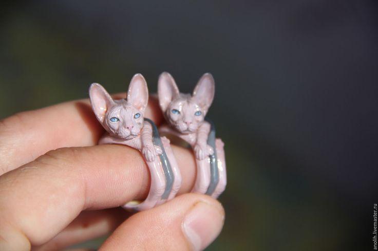 Купить Кольцо кошка Сфинкс. Кольца с животными. - комбинированный, кошка, кольцо кошка, кольцо серебрянное