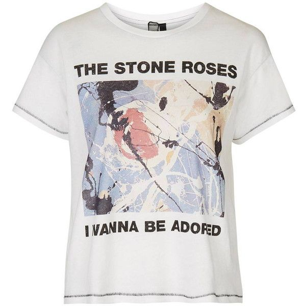 Stone Roses Tee by and Finally ($36) ❤ liked on Polyvore featuring tops, t-shirts, white, slouch tee, white cotton tee, topshop tops, white cotton t shirts e slouchy tee
